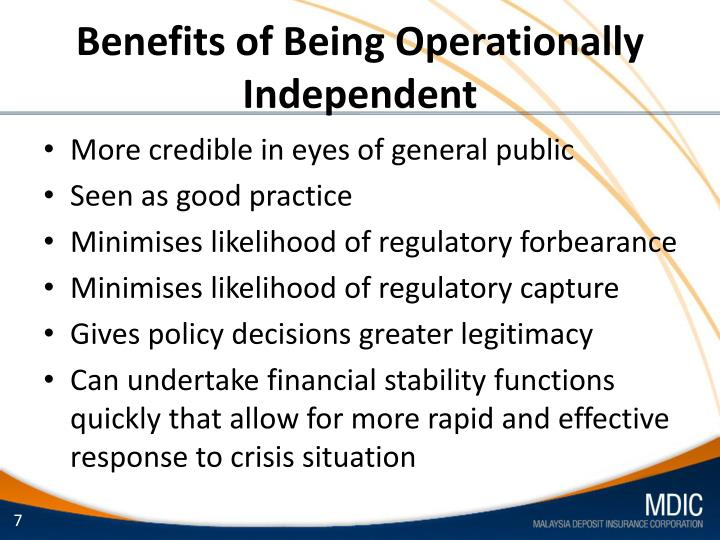 Benefits of Being Operationally Independent
