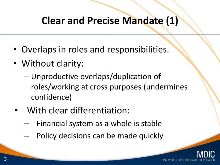 Clear and precise mandate 1