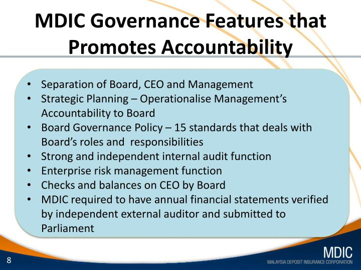 MDIC Governance Features that Promotes Accountability