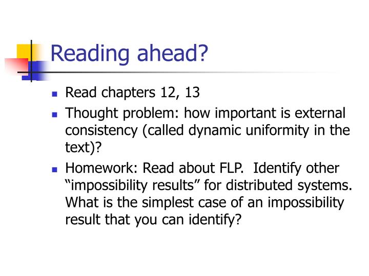 Reading ahead?