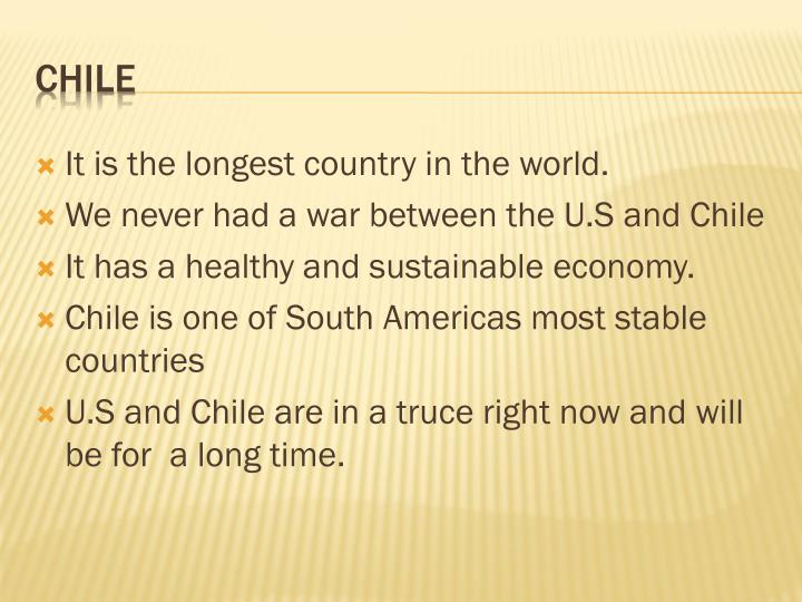 It is the longest country in the world.