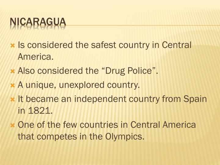 Is considered the safest country in Central America.