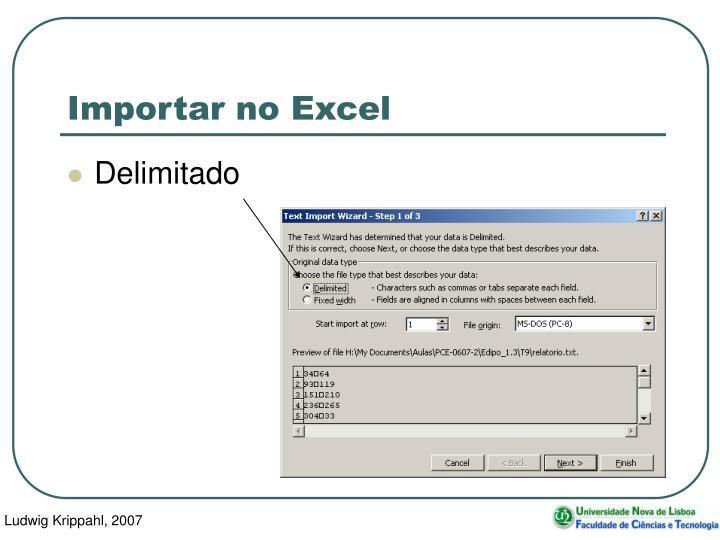 Importar no Excel