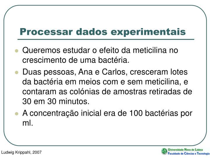 Processar dados experimentais