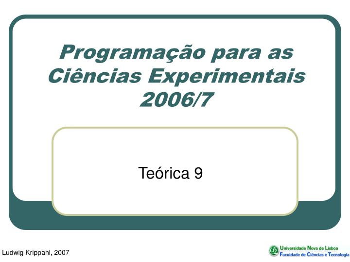 programa o para as ci ncias experimentais 2006 7