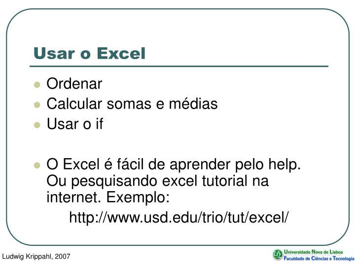Usar o Excel