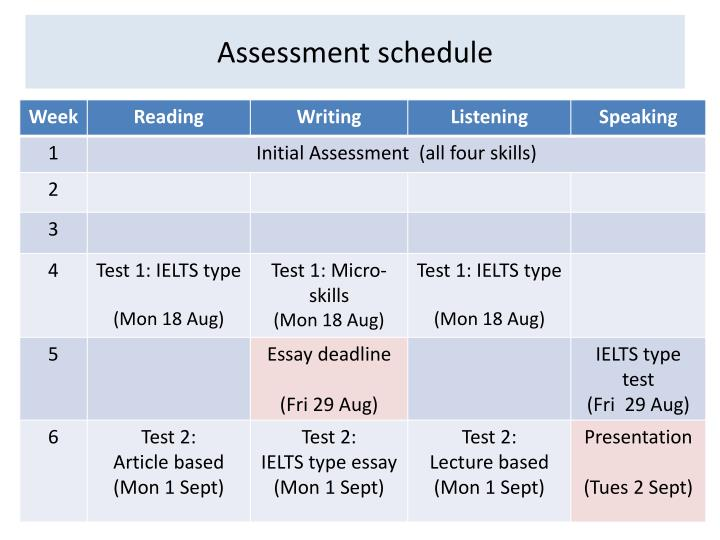 Assessment schedule