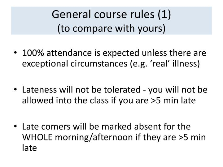 General course rules (1)