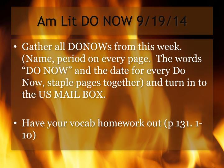 Am Lit DO NOW 9/19/14