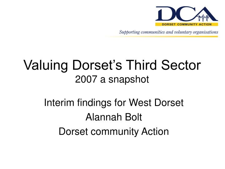 Valuing dorset s third sector 2007 a snapshot