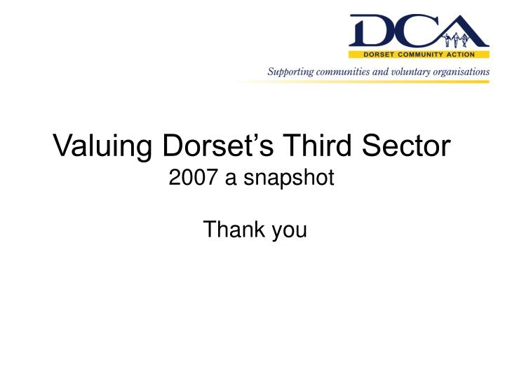Valuing Dorset's Third Sector