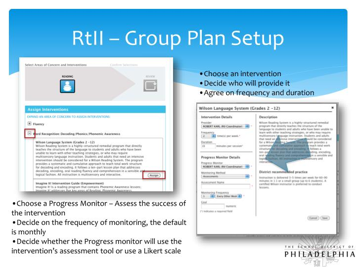 RtII – Group Plan Setup