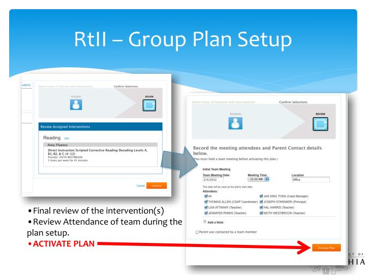 RtII – Group Plan Setup