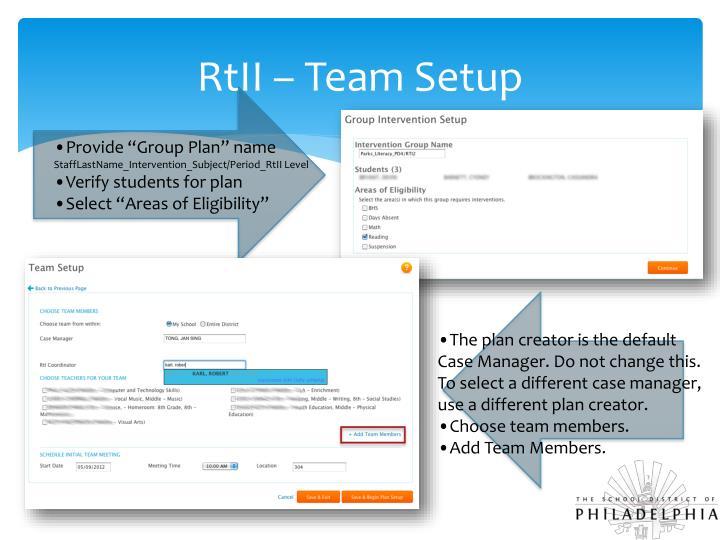 RtII – Team Setup
