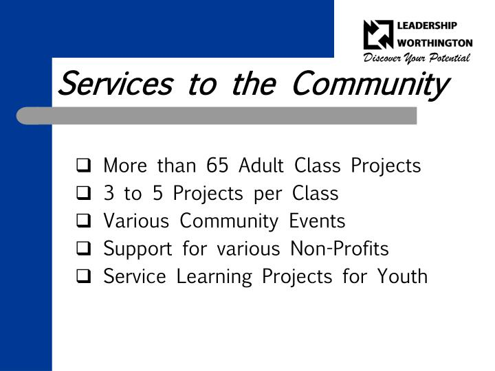Services to the Community