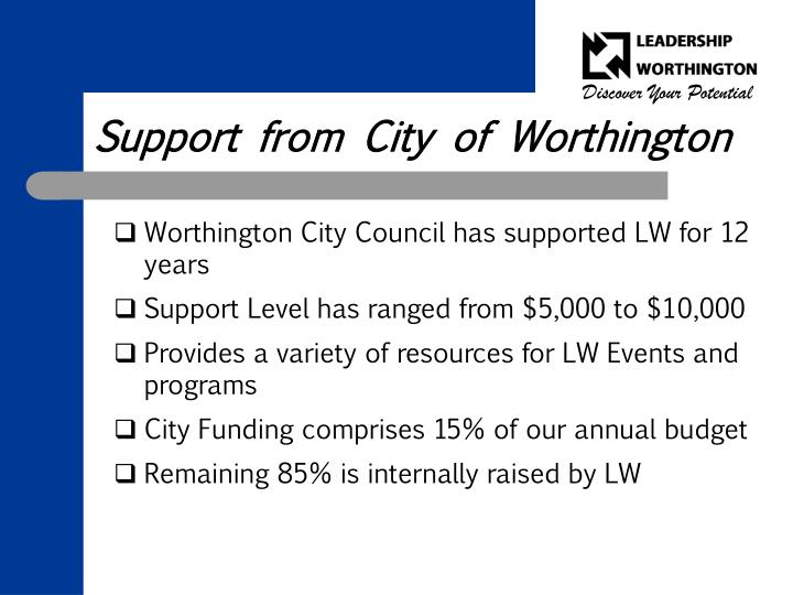Support from City of Worthington