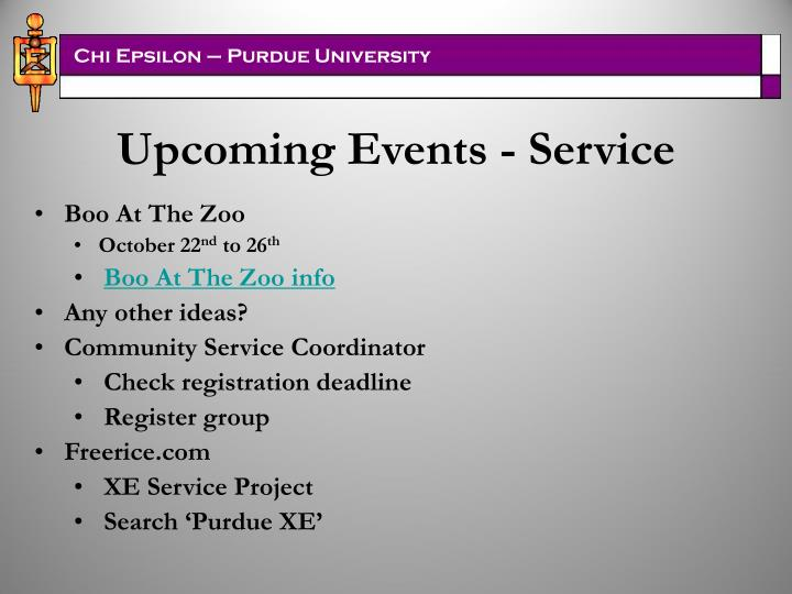Upcoming Events - Service