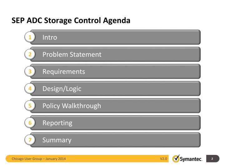 SEP ADC Storage Control Agenda