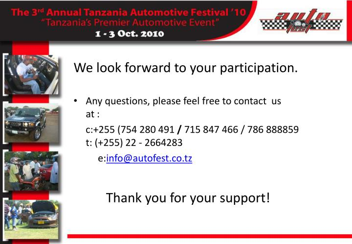 We look forward to your participation.