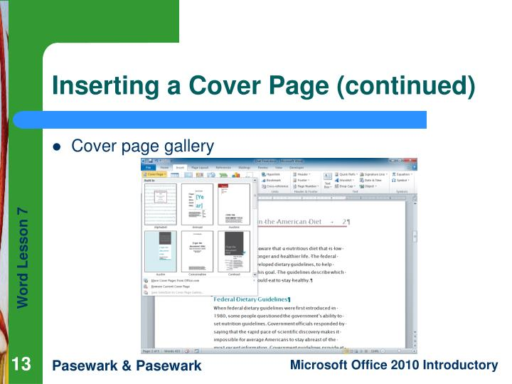 Inserting a Cover Page (continued)