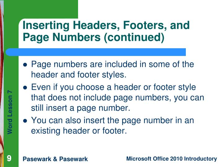 Page numbers are included in some of the header and footer styles.