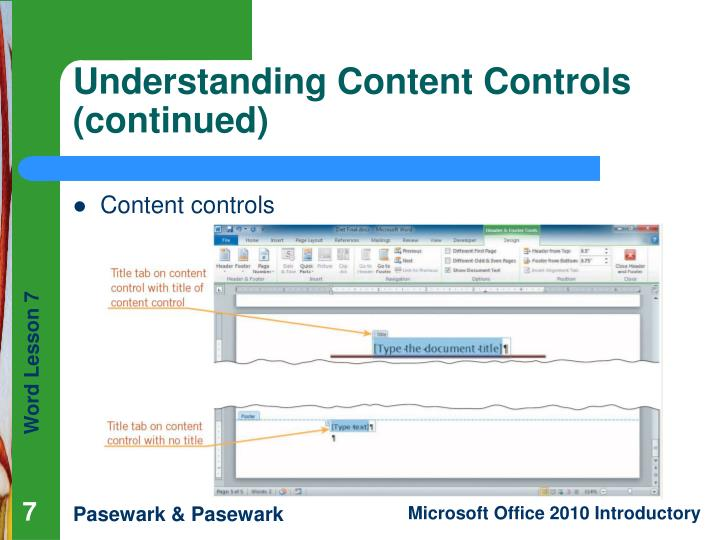 Understanding Content Controls (continued)