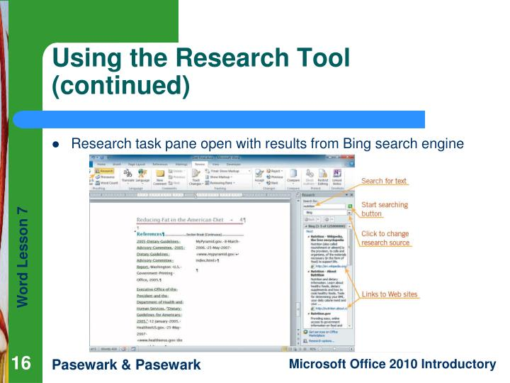 Using the Research Tool (continued)