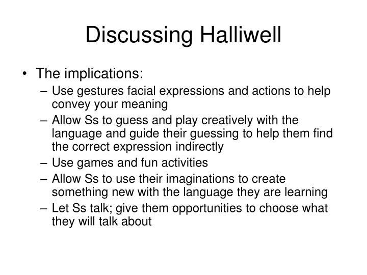 Discussing Halliwell