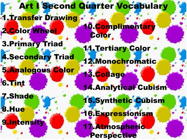 Art I Second Quarter Vocabulary