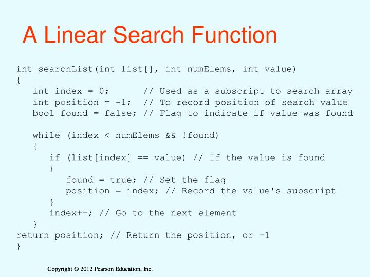 A Linear Search Function