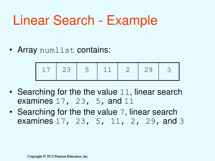 Linear Search - Example