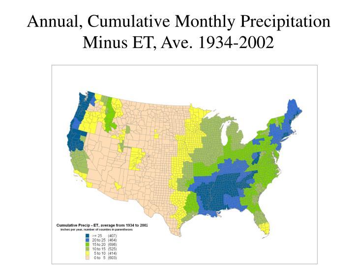 Annual, Cumulative Monthly Precipitation Minus ET, Ave. 1934-2002