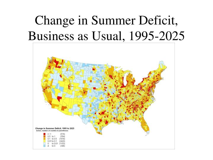 Change in Summer Deficit, Business as Usual, 1995-2025