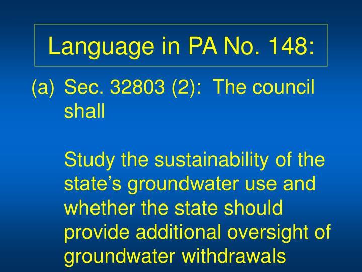 Language in PA No. 148: