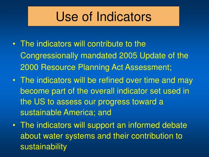 Use of Indicators