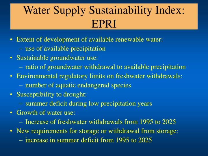 Water Supply Sustainability Index: EPRI