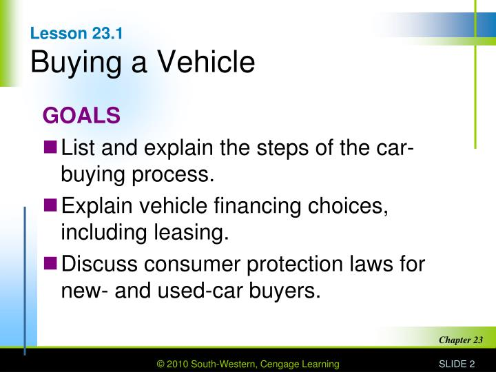 Lesson 23 1 buying a vehicle