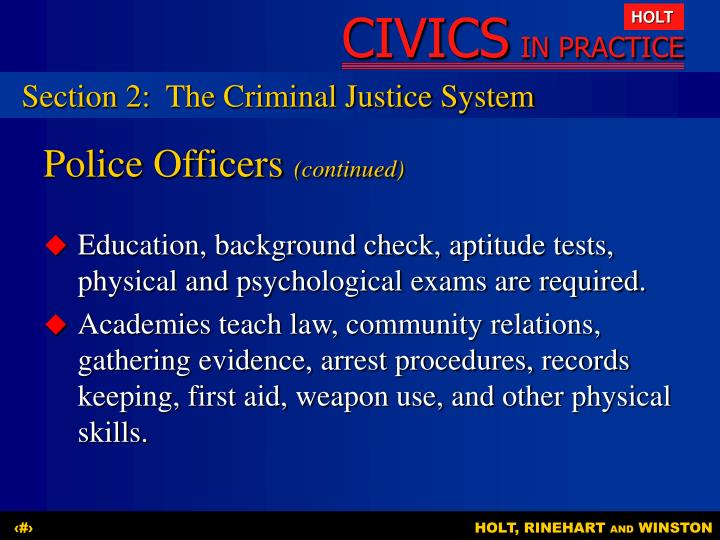 Section 2:The Criminal Justice System
