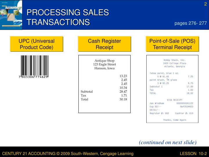 Processing sales transactions
