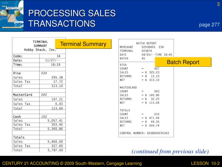 Processing sales transactions1