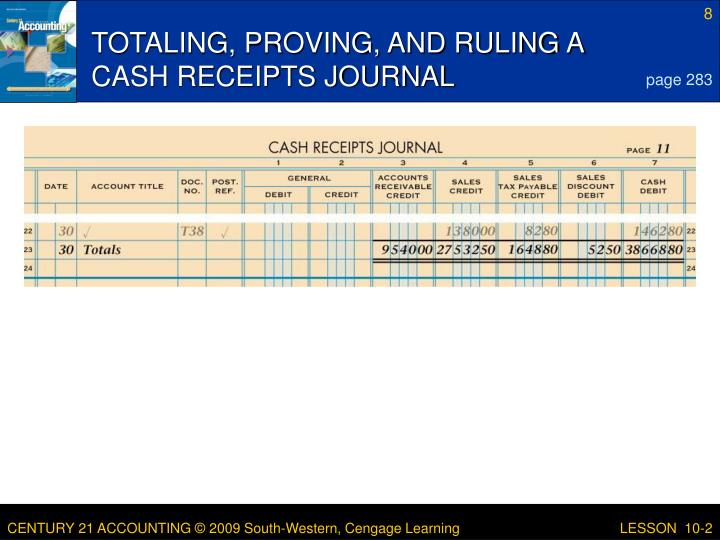 TOTALING, PROVING, AND RULING A CASH RECEIPTS JOURNAL