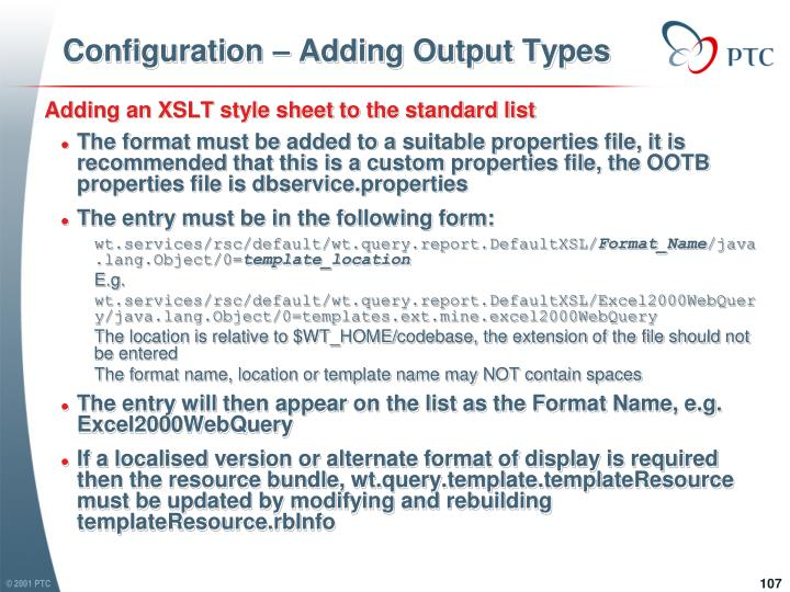 Configuration – Adding Output Types