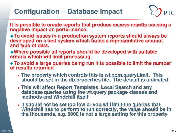 Configuration – Database Impact