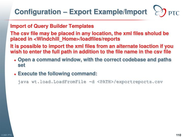 Configuration – Export Example/Import