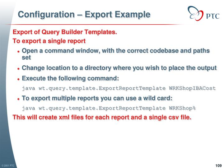 Configuration – Export Example