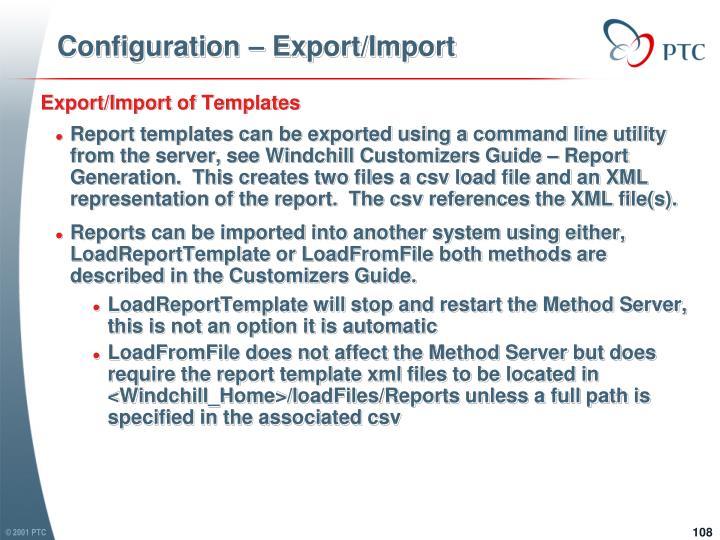 Configuration – Export/Import