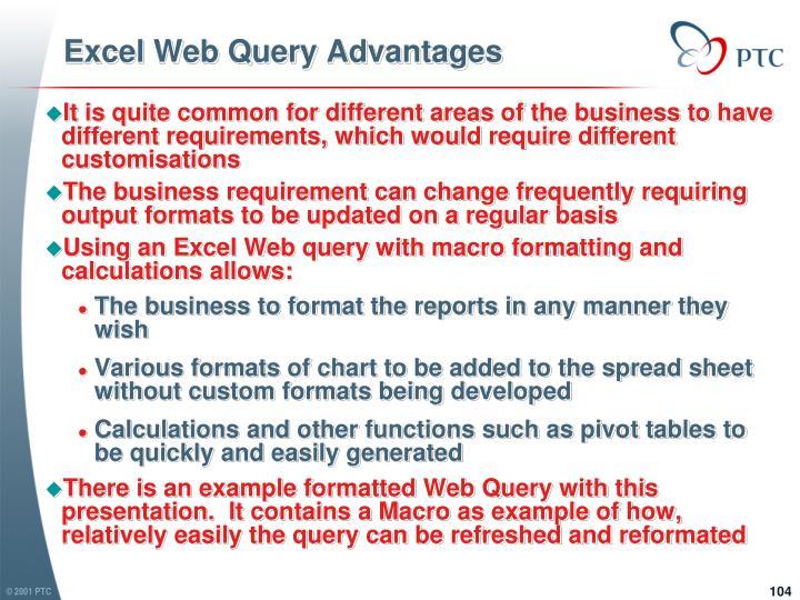 Excel Web Query Advantages