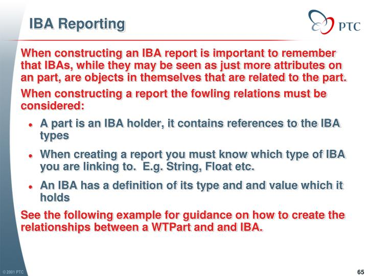 IBA Reporting