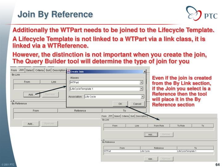 Even if the join is created from the By Link section, if the Join you select is a Reference then the tool will place it in the By Reference section