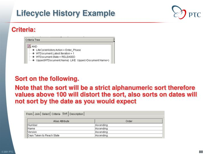 Lifecycle History Example